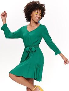 Zielona sukienka Top Secret z długim rękawem dopasowana w stylu casual