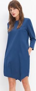 Niebieska sukienka Mohito z długim rękawem mini asymetryczna