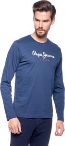 Niebieski t-shirt Pepe Jeans z długim rękawem