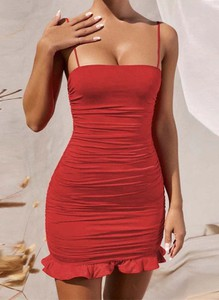 Czerwona sukienka Arilook mini hiszpanka w stylu casual
