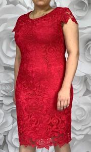 Sukienka Dorota z tkaniny z krótkim rękawem midi