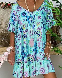 Sukienka Kendallme mini oversize z krótkim rękawem