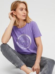 Niebieski t-shirt Diverse z okrągłym dekoltem w stylu casual