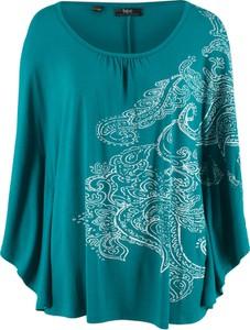 Turkusowa bluzka bonprix bpc bonprix collection z okrągłym dekoltem z długim rękawem w stylu etno