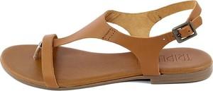 Brązowe sandały Triple Sun w stylu casual z klamrami ze skóry