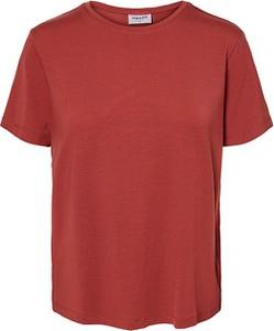 Czerwony t-shirt Vero Moda w stylu casual z krótkim rękawem