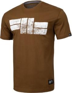 Brązowy t-shirt Pit Bull z krótkim rękawem w młodzieżowym stylu