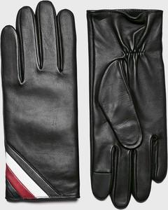 e85fbbccc54d50 RĘKAWICZKI MĘSKIE SKÓRZANE Z ŁĄCZONYCH MATERIAŁÓW • Rękawiczki. Czarne  rękawiczki Tommy Hilfiger