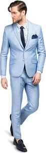 Niebieski garnitur Giacomo Conti z lnu