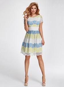Sukienka Marselini midi z okrągłym dekoltem