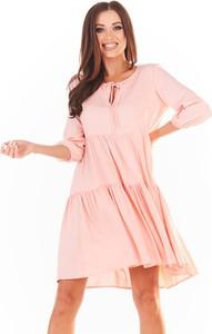 Różowa sukienka Awama w stylu casual mini z długim rękawem