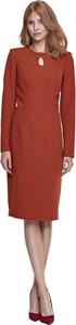 Czerwona sukienka Nife z długim rękawem