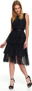 Czarna sukienka Top Secret z tiulu z okrągłym dekoltem