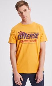 Żółty t-shirt Diverse z krótkim rękawem