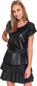 Czarna bluzka Top Secret w stylu glamour z okrągłym dekoltem z długim rękawem