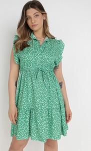 Zielona sukienka born2be mini w stylu casual