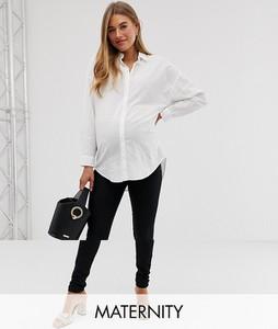 Mama Licious Mamalicious – Czarne jeansy ciążowe o obcisłym kroju z gumką na brzuch-Czarny