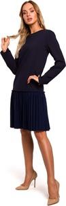 Granatowa sukienka MOE z długim rękawem z okrągłym dekoltem midi