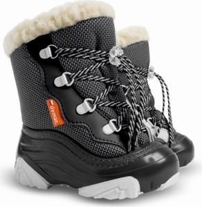 Czarne buty dziecięce zimowe Demar sznurowane z dzianiny