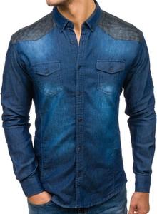 Granatowa koszula Denley z bawełny z długim rękawem