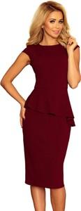 Czerwona sukienka Moda Dla Ciebie midi ołówkowa