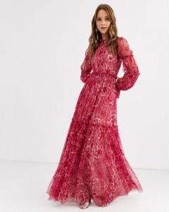 Czerwona sukienka Needle & Thread z długim rękawem