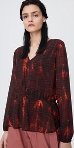Bluzka Sinsay w stylu casual z dekoltem w kształcie litery v z szyfonu