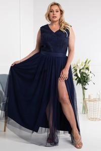 Sukienka KARKO bez rękawów maxi z dekoltem w kształcie litery v