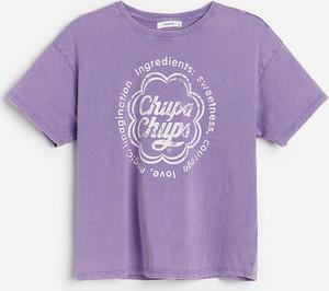 T-shirt Reserved z bawełny z okrągłym dekoltem z krótkim rękawem