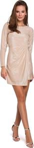 Sukienka Merg prosta z długim rękawem z okrągłym dekoltem