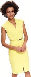 Żółta sukienka Top Secret dopasowana w stylu casual z krótkim rękawem
