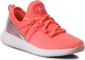 Różowe buty sportowe Under Armour z płaską podeszwą sznurowane ze skóry ekologicznej