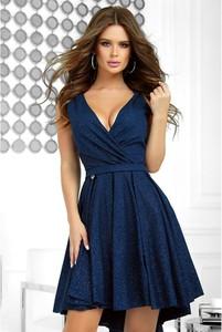 Niebieska sukienka Bicotone bez rękawów z dekoltem w kształcie litery v