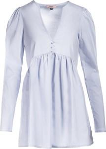 Niebieska sukienka Multu w stylu casual z dekoltem w kształcie litery v z długim rękawem