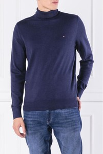 Niebieski sweter Tommy Hilfiger z jedwabiu