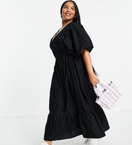 Czarna sukienka Asos maxi z bawełny gorsetowa