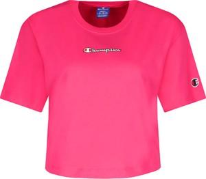 Różowy t-shirt Champion z okrągłym dekoltem z krótkim rękawem
