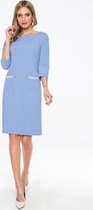 Niebieska sukienka POTIS & VERSO z długim rękawem mini