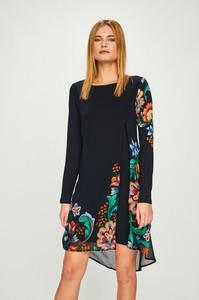 Granatowa sukienka Desigual z dzianiny midi z długim rękawem