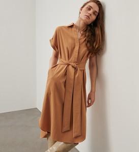 Brązowa sukienka Reserved w stylu casual midi koszulowa