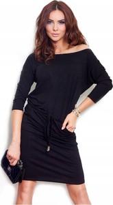 Czarna sukienka NUMOCO mini z długim rękawem sportowa