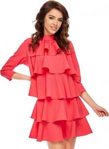 Różowa sukienka Ooh la la z długim rękawem mini