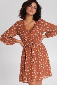 Brązowa sukienka Renee mini rozkloszowana