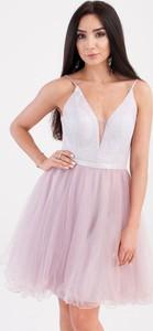 Sukienka Butik Ecru mini na ramiączkach