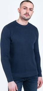 Granatowy sweter Big Star z dzianiny w stylu casual z okrągłym dekoltem