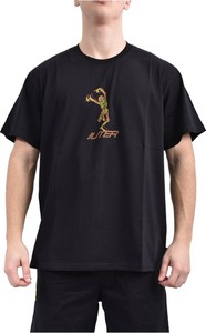 Czarny t-shirt Iuter z krótkim rękawem z nadrukiem z bawełny
