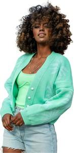 Zielony sweter Fobya w stylu casual z żakardu