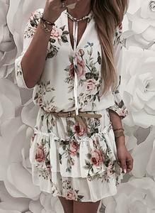 Sukienka Sandbella z długim rękawem w stylu boho trapezowa