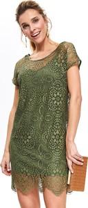 Zielona sukienka Top Secret mini z okrągłym dekoltem z krótkim rękawem