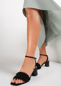 Czarne sandały renee ze skóry ekologicznej